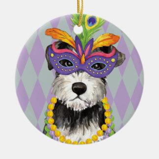 Mardi Gras Mini Schnauzer Ceramic Ornament