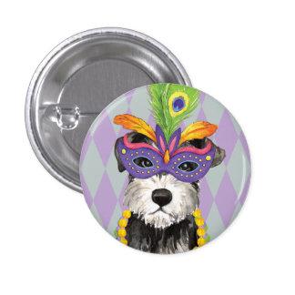 Mardi Gras Mini Schnauzer Pinback Button