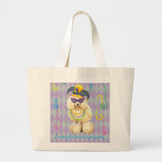 Mardi Gras Miniature Poodle Large Tote Bag