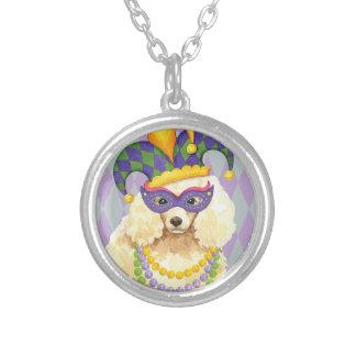 Mardi Gras Miniature Poodle Silver Plated Necklace