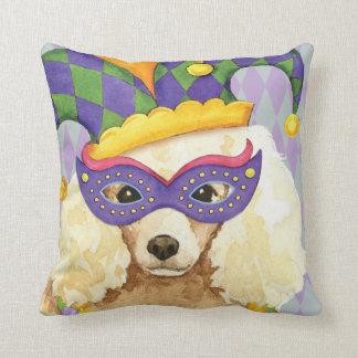 Mardi Gras Miniature Poodle Throw Pillow