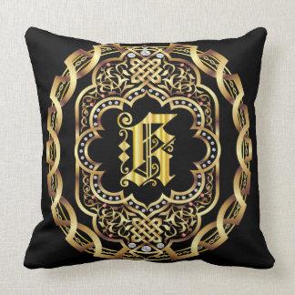 Mardi Gras Monogram K IMPORTANT Read About Design Throw Pillow