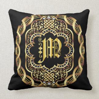 Mardi Gras Monogram M IMPORTANT Read About Design Throw Pillow