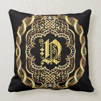 Mardi Gras Monogram N IMPORTANT Read About Design Throw Pillow