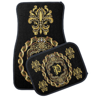 Mardi Gras Monogram P IMPORTANT Read About Design Car Floor Mat