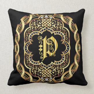 Mardi Gras Monogram P IMPORTANT Read About Design Throw Pillow