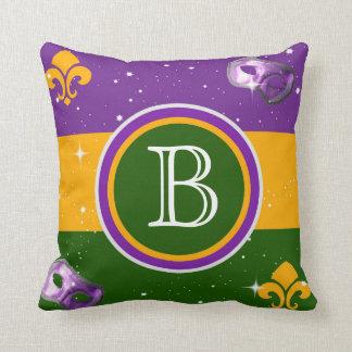 Mardi Gras Monogram Pillow w/mask and fleur de lis