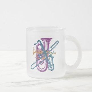 Mardi Gras Music Frosted Glass Coffee Mug