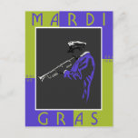 Mardi Gras Musician Postcard