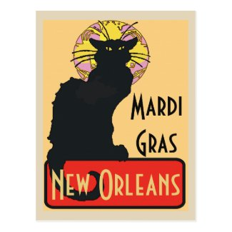 Mardi Gras New Orleans Chat Noir Edit Text  Poster Postcard