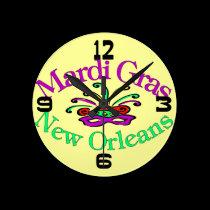 Mardi Gras New Orleans Clock Face wall clocks