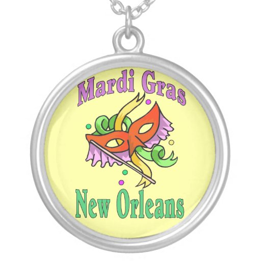 Mardi Gras New Orleans Round Pendant Necklace