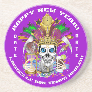 Mardi Gras New Year Customize View Notes Please Drink Coaster