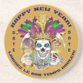 Mardi Gras New Year Customize View Notes Please Sandstone Coaster