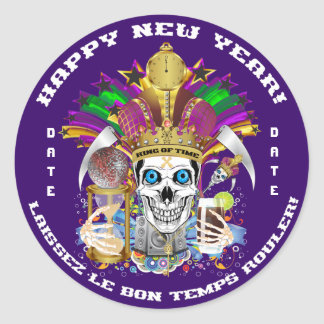 Mardi Gras New Year Customize View Notes Please Classic Round Sticker