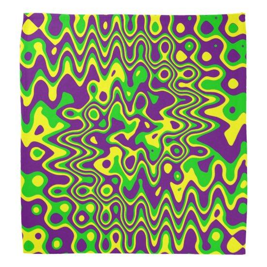 [Mardi Gras Op-Art] Purple Green Yellow Bandana