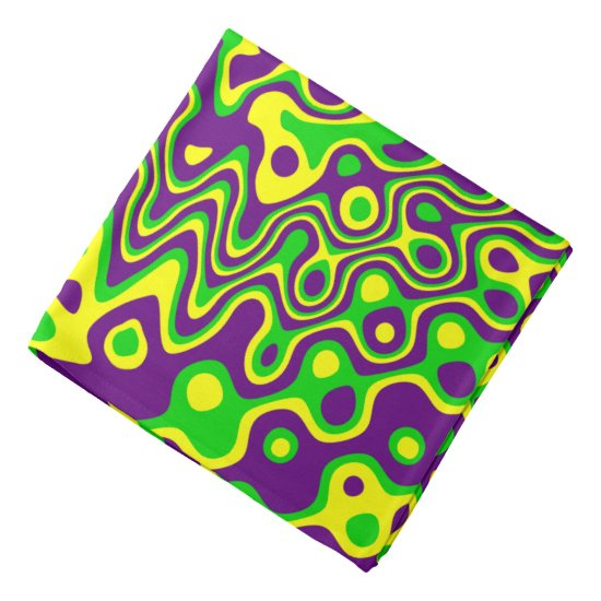 [Mardi Gras Op-Art] Purple Green Yellow Bandana