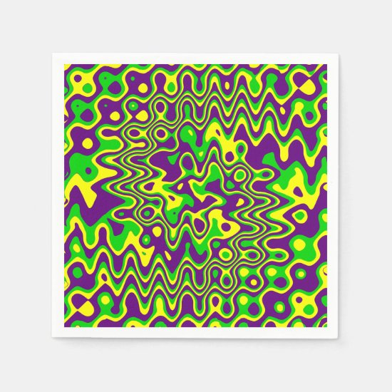[Mardi Gras Op-Art] Purple Green Yellow Paper Napkin