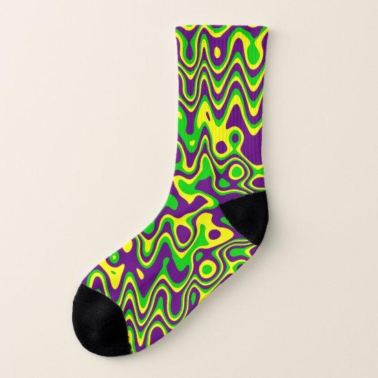[Mardi Gras Op-Art] Purple Green Yellow Socks