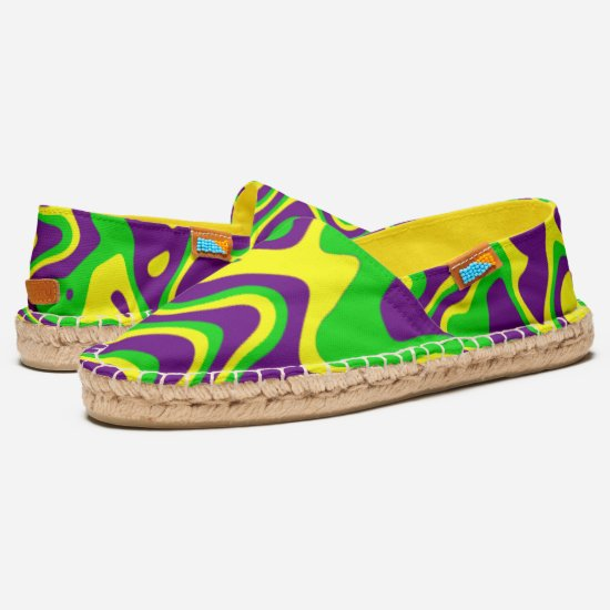 [Mardi Gras Op-Art] Purple Green Yellow Swirls Espadrilles