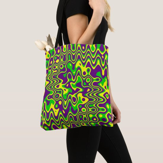 [Mardi Gras Op-Art] Purple Green Yellow Tote Bag
