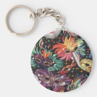 Mardi Gras Party Basic Round Button Keychain