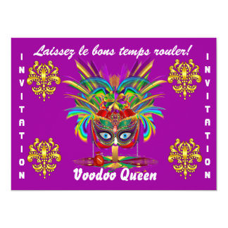 Mardi Gras Party Best View large Please View Notes 6.5x8.75 Paper Invitation Card