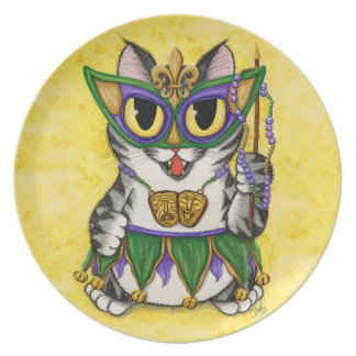 Mardi Gras Party Cat New Orleans Art Plate