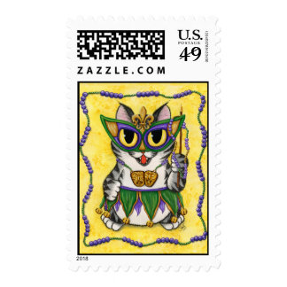 Mardi Gras Party Cat New Orleans Fantasy Art Posta Postage Stamp
