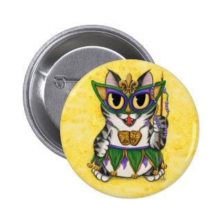 Mardi Gras Party Cat New Orleans Fantasy Button