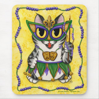 Mardi Gras Party Cat New Orleans Fantasy Mousepad