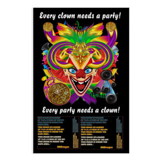"Mardi Gras Party Clown 40"" X 60 View Hints Please Poster"
