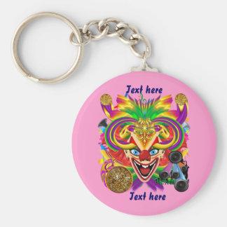 Mardi Gras Party Clown View Hints Please Basic Round Button Keychain