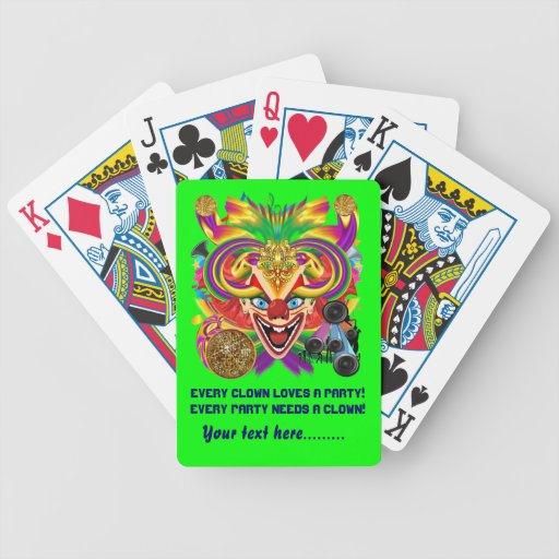 Mardi Gras Party Clown View Hints Please Bicycle Playing Cards
