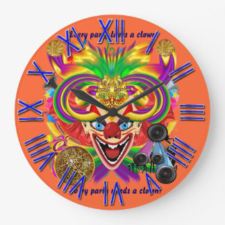 Mardi Gras Party Clown View Hints Please Round Wall Clock
