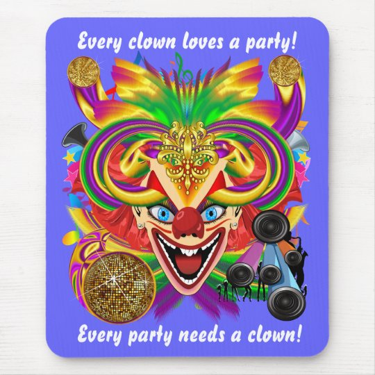 Mardi Gras Party Clown View Hints Please Mouse Pad