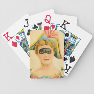 Mardi Gras Party Favor Masked Lady Vintage Art Bicycle Playing Cards