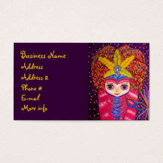 Mardi Gras Party Girl with Pink Hair & Mask Business Card