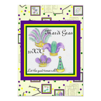 Mardi Gras Party Hats & Parade Route Celebration 5x7 Paper Invitation Card