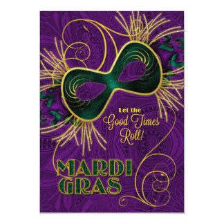 Mardi Gras Party in Purple Gold Green Card