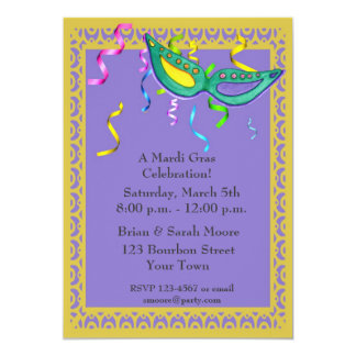 """Mardi Gras Party Invitation 5"""" X 7"""" Invitation Card"""