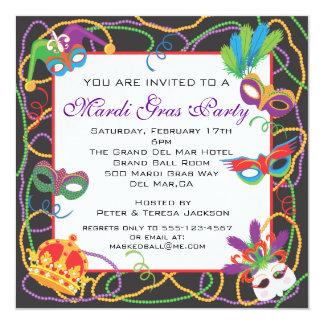Mardi gras party invitations announcements zazzle mardi gras party invitation with masks and beads stopboris Gallery