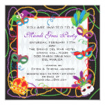 Mardi Gras  Party Invitation with Masks and Beads
