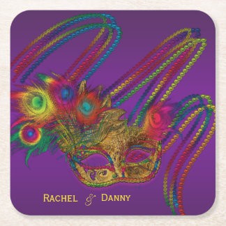 Mardi Gras Party Personalized Drink Coasters