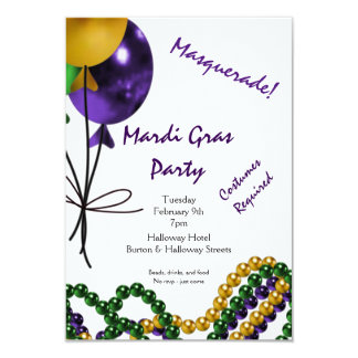 Mardi Gras Party Purple Gold and Green Card