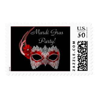 """""""Mardi Gras Party!"""" (Red Mask 1) Postage"""