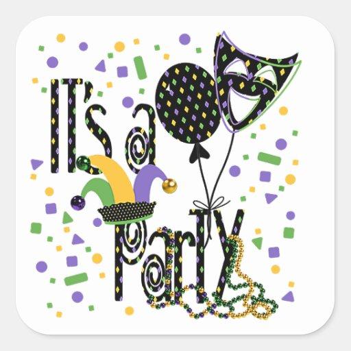 Mardi Gras Party Square Sticker