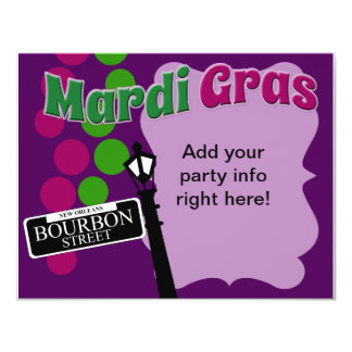 Mardi Gras Party Time 4.25x5.5 Paper Invitation Card