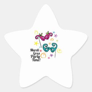 Mardi Gras Party Time Star Sticker