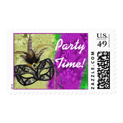 Mardi gras Party Time with mask and feathers Stamp